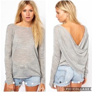 EUC ASOS light grey draped back sweater